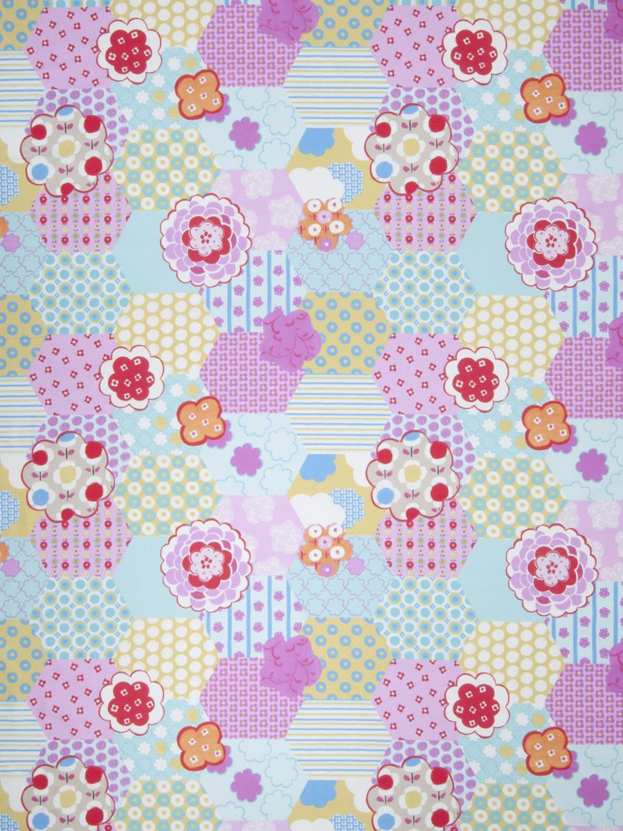 Crazy Quilt Pattern Fabric : Crazy Quilt Sky Fabric Fabricut