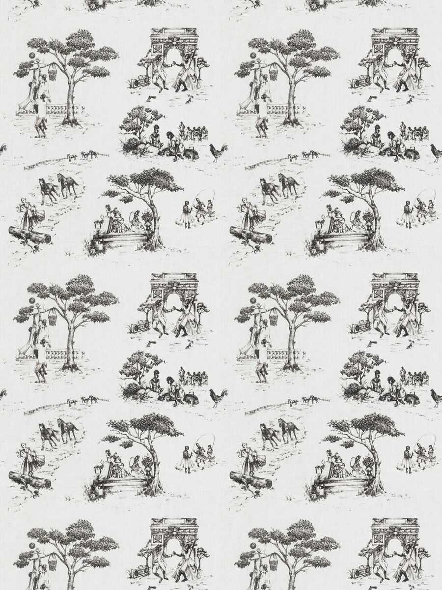 Harlem Toile Black On White