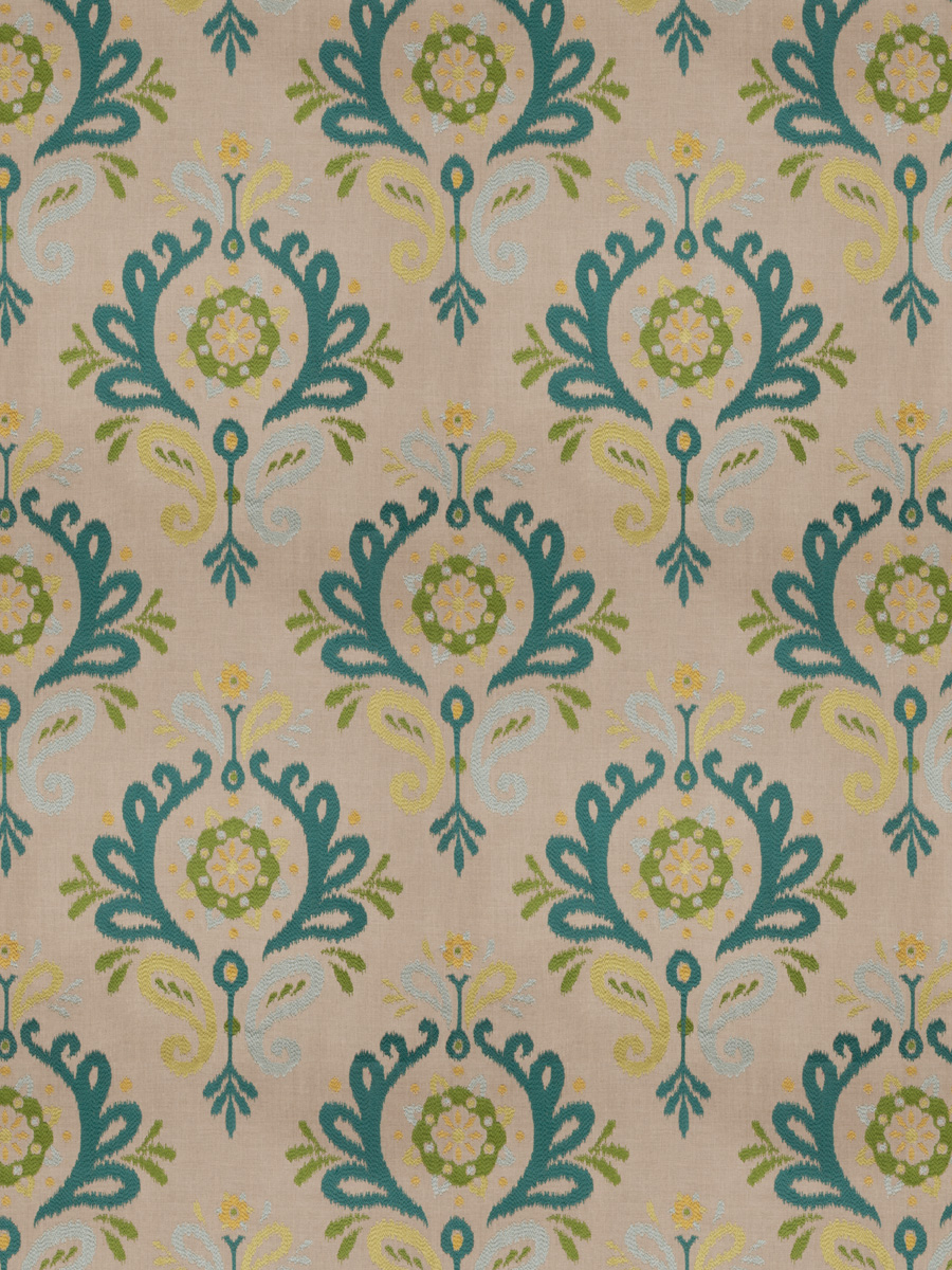 Pascal Damask Peacock On Linen Fabric Vervain