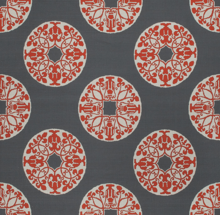 Amphora Coin Red On Grey | Fabric | Vervain